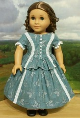 1853 Sunday Best Gown- made for Marie-Grace and Cecile (Keepersdollyduds) Tags: girl doll american gown 1850s 1853 cecile peplum ruching mariegrace keepersdollyduds