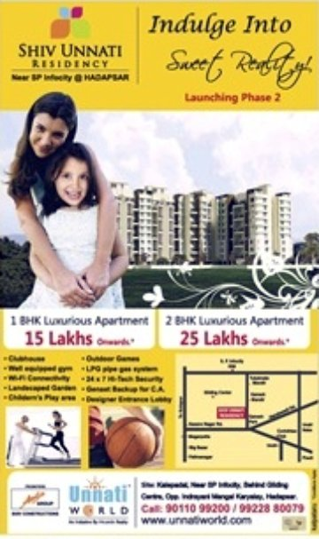 Shiv Unnati Residency, 1 BHK 15 Lakhs Onward & 2 BHK 25 Lakhs Onward, Kalepadal, near S P Infocity, behind Gliding Center, opp Indrayani Mangal Karyalay, Hadapsar Pune