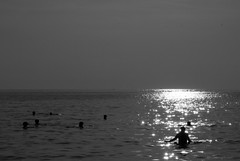 stars in the sea  (cyberjani) Tags: sea people bw sun reflection adriatic blackdiamond istria