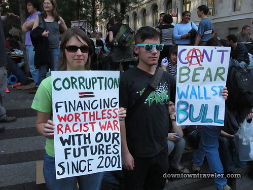 NYC Occupy Wall Street Rally Oct 8 2011 corruption sign