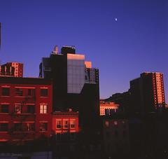 Last light 10 Ave from the Highline (mailhog00) Tags: nyc sunset newyork 6x6 mediumformat velvia moonrise highline yashicamat