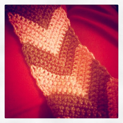 Working on a chevron scarf