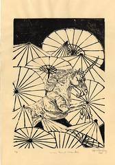 Unicorn Amongst Umbrellas (the.minouette) Tags: printmaking linoleum umbrellas unicorn reliefprint parasols minouette