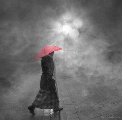 Rainy Evening (h.koppdelaney) Tags: life pink light woman mist art fall rain fog digital umbrella photoshop twilight solitude nebel symbol path dream picture philosophy fantasy mind quest metaphor stillness psyche symbolism psychology archetype conscious zwielicht deamy saariysqualitypictures koppdelaney