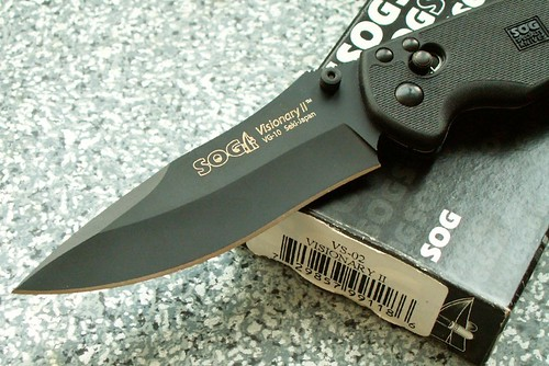 "SOG Visionary II with Arc Lock Dual Thumb Studs 3.75"" Black Plain Edge Blade"