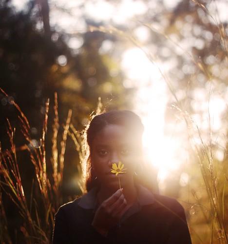 無料写真素材, 人物, 女性  黒人, 人物  花・植物, 人物  草原, アメリカ人
