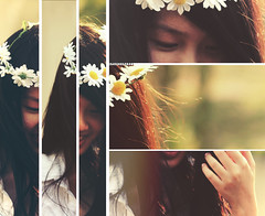 Faded Nostalgia of Spring (Amanda Mabel) Tags: flowers portrait sunlight white girl smile face fashion shirt daisies hair spring eyes triptych hand eyelashes emotion skin bokeh fingers angles garland lips lightleak crop memory bones bestfriend delicacy strands amandamabel someonepleasetellmewhattodobecauseidontknow