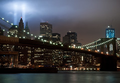 Tribute in Lights and Freedom Tower (ajagendorf25) Tags: world new york city bridge blue red white tower brooklyn lights freedom nikon downtown bright district 911 ground center 11 september terrorism wtc tribute trade financial zero 2011 d90 ajagendorf25 alexjagendorf