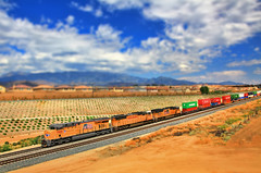 Union Pacific Train Tilt Shift (Dave Toussaint (www.photographersnature.com)) Tags: california county ca railroad travel sky usa cloud nature up train photoshop canon landscape photo interestingness interesting track skies photographer riverside cs2 picture fake september explore adobe unionpacific southerncalifornia freight westbound beaumont tiltshift intermodal 2011 denoise 60d topazlabs c45accte topazadjust photographersnaturecom davetoussaint yumasubdivision