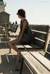 Savanah IX (AdamRalphPhoto) Tags: blue light sky house water girl beautiful standing bench concrete wooden dock waiting looking rail railing refreshing