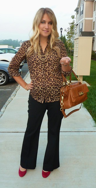 leopard trench print blouse work outfit