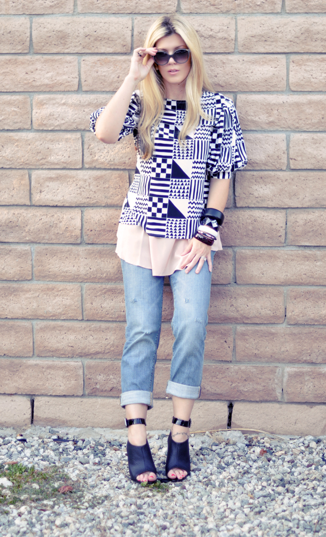 chloe belladone sunglasses, victoria's secret jeans, carlos santana shoes, block wall  + boyfriend jeans +  ankle wedges + rocks