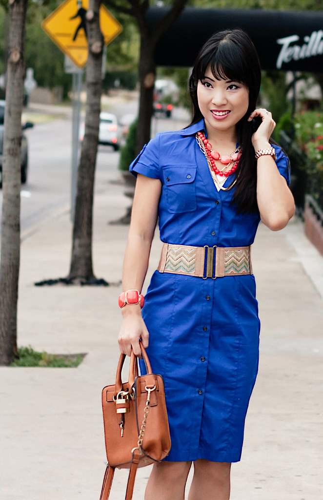 express royal blue shirtdress, agaci missoni zig zag belt, aldo whitsey cognac pumps, the limited coral necklace, mk5430, forever 21 coral bracelet, melie bianco madison