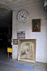 Auto-Garage Shrine (Wires In The Walls) Tags: auto newyork clock shrine bronx framed garage jesus mechanic lastsupper