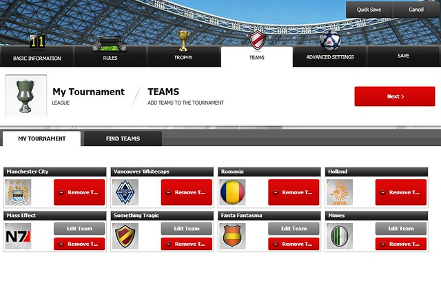 FIFA 12 Creation Centre: Choose Tournament Teams