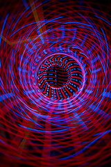 Swirly red and blue stuff (- Hob -) Tags: longexposure blue red lightpainting abstract ribbons raw swirly elwire singleexposure lightjunkies