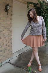Outfit - Asos skater dress, leopard cardigan, kelly bag