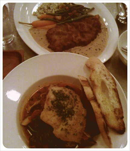 Looking for an affordable, unpretentious place with great food? (Aren't we all, all the time). Cafeteria on Main St's $35 3-course prix fixe is impossible to beat. Pictured here: veal schnitzel and snapper bouillabaisse. Finish with their mindblowing peanut butter pie.  in Vancouver, BC by Melody Gourmet Fury