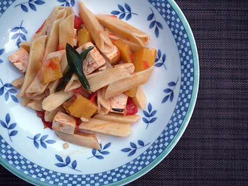 pasta with tomatoes, squash, and sage