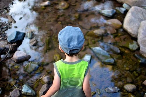 Joel pondering his first creek crossing.