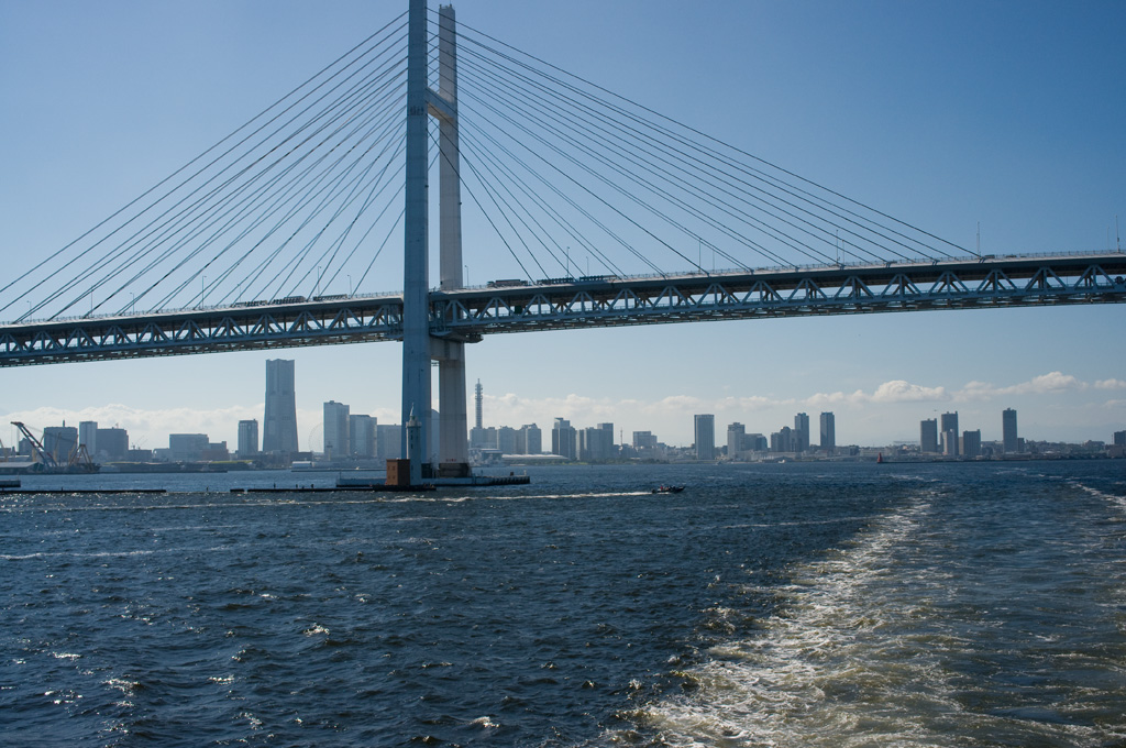 Yokohama City view through Bay Bridge