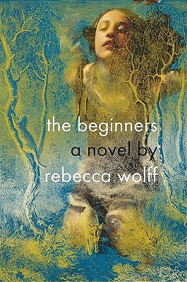 The Beginners cover. A girl floats underwater with her eyes closed, overlaid by sketch of a forest.