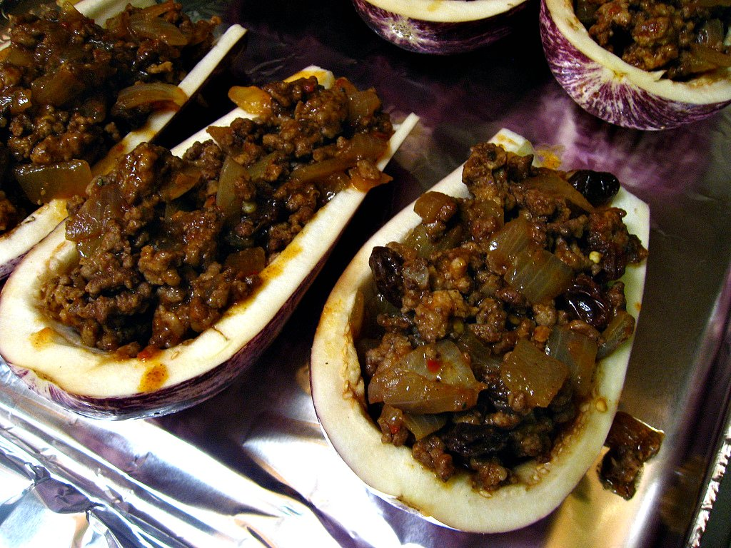 Picadillo filled eggplant boats- pre-baking