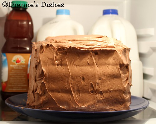 Triple Chocolate Ganache Cake: Buttercream Layer Setting in the Fridge