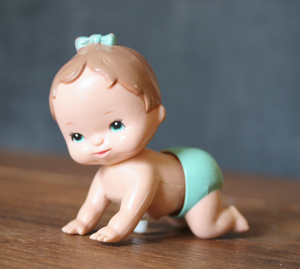 Vintage Wind Up Crawling Baby in Blue Diaper