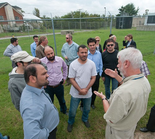 Dennis Timlin (far right) of USDA's Agricultural Research Service (ARS) spoke with the 12 Borlaug Fellows from Afghanistan's Ministry of Agriculture, Irrigation and Livestock (MAIL) about the Global Climate Change Lab at the ARS facility in Beltsville, Md. on Wednesday. USDA Photo by Lance Cheung.