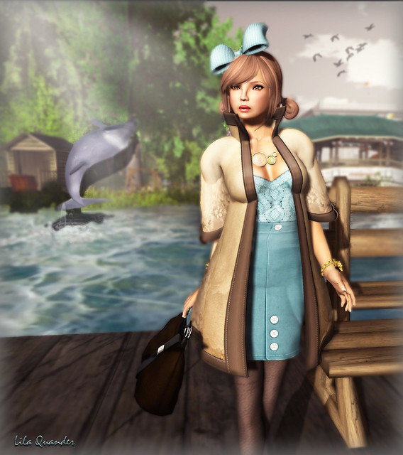 The Secret Store - Kimono Coat - Mocha &  Pencil Skirt - Quarry (Close)