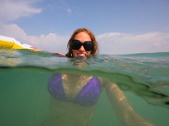 Israel - A new field of vision (lovemyblackcat) Tags: sea beach smile sunglasses israel underwater bikini  habonim