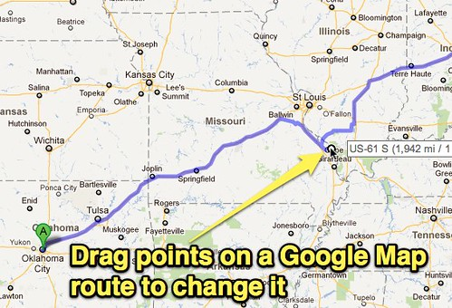 Change route in Google Maps