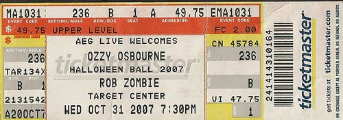 10-31-07 Ozzy Osbourne/Rob Zombie/In This Moment @ Target Center, Mpls, MN (Ticket)