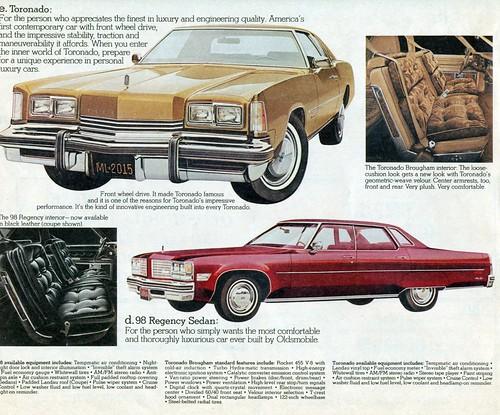 1976 Oldsmobile Toronado and Ninety-Eight 4 door hardtop