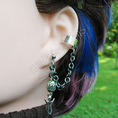 Green and Silver Celtic Goddess Cartilage Chain Ear Cuff