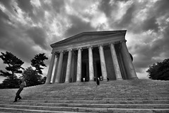 Storm Clouds Over the Jefferson Memorial (Seth Oliver Photographic Art) Tags: blackandwhite clouds dc washington nikon cityscapes driftingclouds pinoy stormclouds urbanscapes tidalbasin monochromes grayclouds travelphotography d90 historicallandmarks handheldshot thejeffersonmemorial monotones aperturef90 iso159 dclandmarks manualmodeexposure setholiver1 circularpolarizers 1024mmtamronuwalens vacationimages bnwconversions 1160secondexposure