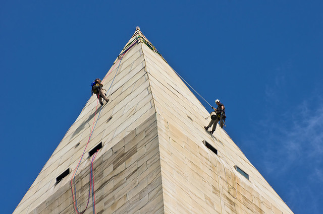 Washington Monument rappelers