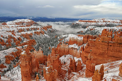 Morning in Bryce Canyon after a Dusting of Snow (David M Hogan) Tags: morning snow storm utah nationalpark snowstorm canyon hoodoo bryce np brycecanyon rim sunsetpoint thorshammer coloradoplateau bryceamphitheater southwestroadtrip2011