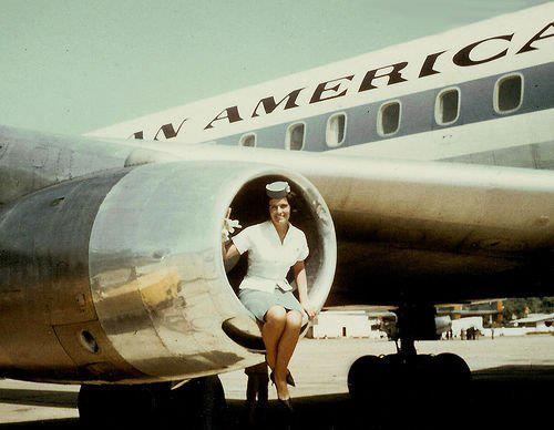Pan Am stewardess in jet engine
