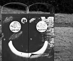 Trash makes you happy (Timo_S.) Tags: white streetart black trash garbage sony can bin 55mm nex5 petriccauto