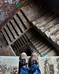 In Illusions of Order (D.Maitland) Tags: fall abandoned stairs scary jump nikon detroit vertigo nike edge heights 60 packard urbex longwaydown lifeontheedge d7000 dmaitland