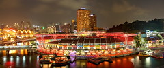 Clarke Quay (Kenny Teo (zoompict)) Tags: longexposure bridge light sunset sky cloud holiday reflection building tourism water beautiful skyline architecture night sunrise canon wonderful river lens landscape boat photo yahoo google photographer waterfront view walk wave tourist best getty kenny  singaporeriver clarkquay zoompict eos5dmark2 kennyteo singaporelowerpiercereservoir