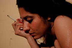 (laumarquezsl) Tags: portrait woman mujer retrato smoke fumar cigarrete cigarrillo fumando pensativa
