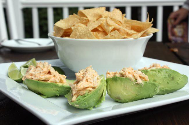 crab in avocado bowls