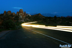 Headlights at Arches National Park (Daniel M. Reck) Tags: mountains car evening utah nationalpark desert headlights archesnationalpark feature extendedexposure dmrfeature