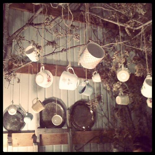 Nada Farm barn sale, tea cups hanging