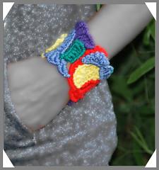 Free form crochet rainbow bracelet (Fibreromance) Tags: unique crochet bracelet etsy cuff fiber freeform freeformcrochet textilejewelry fiberjewelry artcrochet textillejewelry fibreromance wwwfibreromanceetsycom freeformers