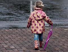 Macy.... (Darren-Muir) Tags: family wet rain umbrella walking day child boots windy away welly footpath
