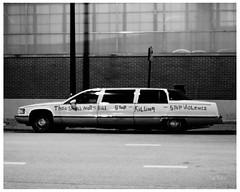 Thou Shall Not Kill - Stop Killing - Stop Violence - Limousine (swanksalot) Tags: blackandwhite bw chicago kill limo vanburen violence limousine handlettered faved gunviolence